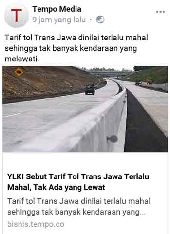 tarif jalan tol terlalu mahal
