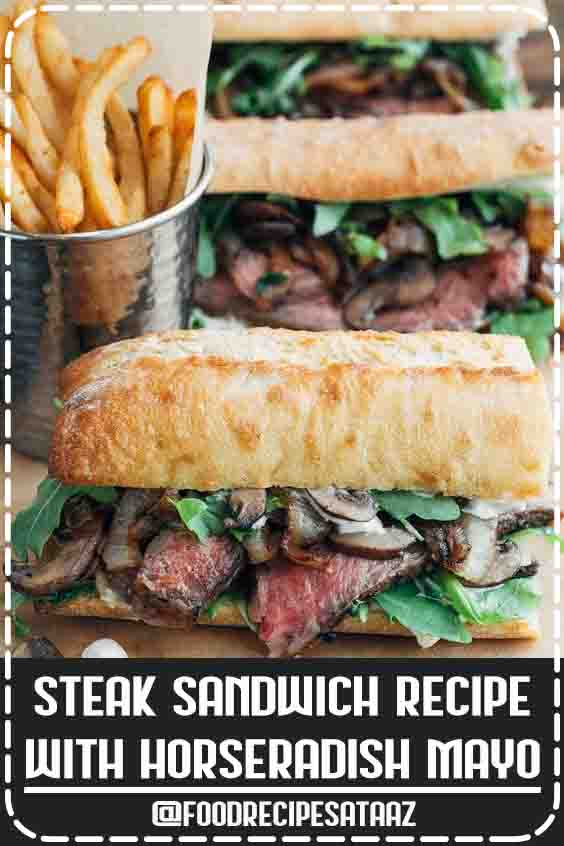 4.6 ★★★★★ | Juicy steak slices meet caramelized onions, sautéed mushrooms, and a zesty horseradish mayonnaise in this hearty, gourmet steak sandwich recipe. #Gourmet #Cold #Sandwich