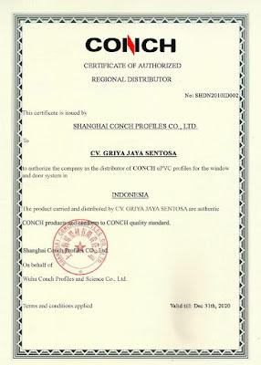 Lisensi resmi pemasaran produk UPVC Conch di pasar Indonesia.