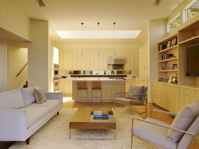 Contemporary Small Living Room Kitchen Combo Interior