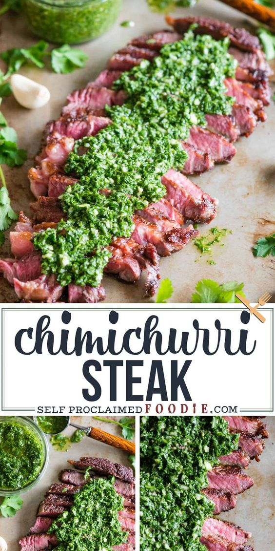 Chimichurri Steak is the dinner recipe you want to make if you're looking for a perfectly cook steak smothered in a fresh and flavorful garlic herb sauce!