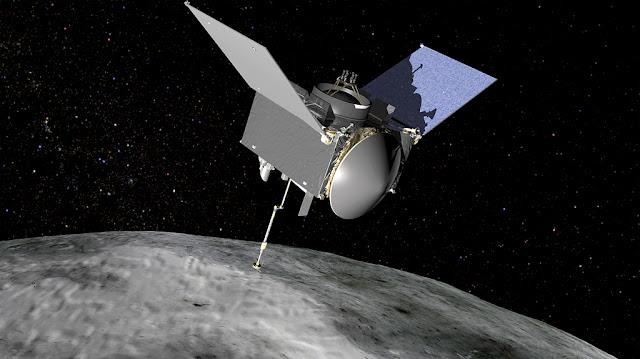 ilustração da Nave OSIRIS-REx e o asteroide Bennu