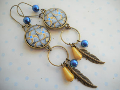 boucles d'oreilles wax bleu et jaune