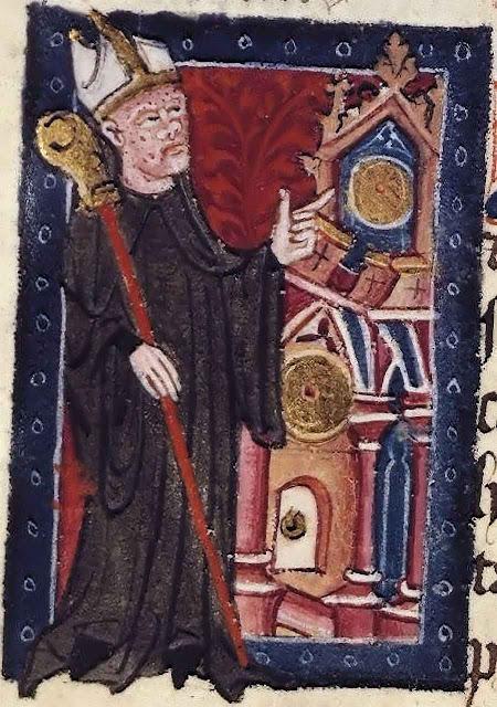 O abade Richard of Wallingford aponta para seu relógio.