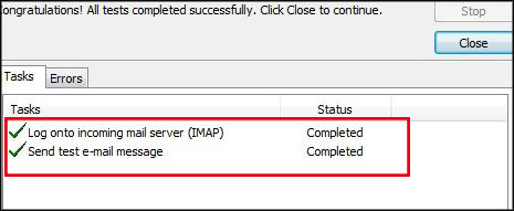 complete Gmail IMAP connection to Outlook