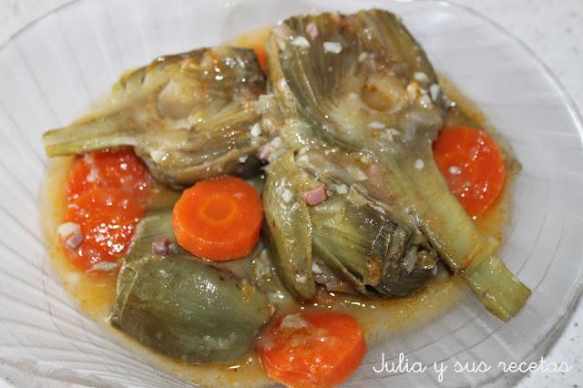 Alcachofas guisadas. Julia y sus recetas