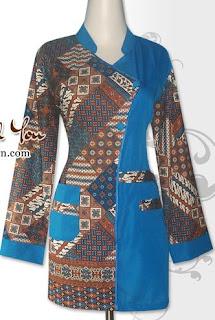 Baju Batik Atasan Kerja Wanita Dua Motif
