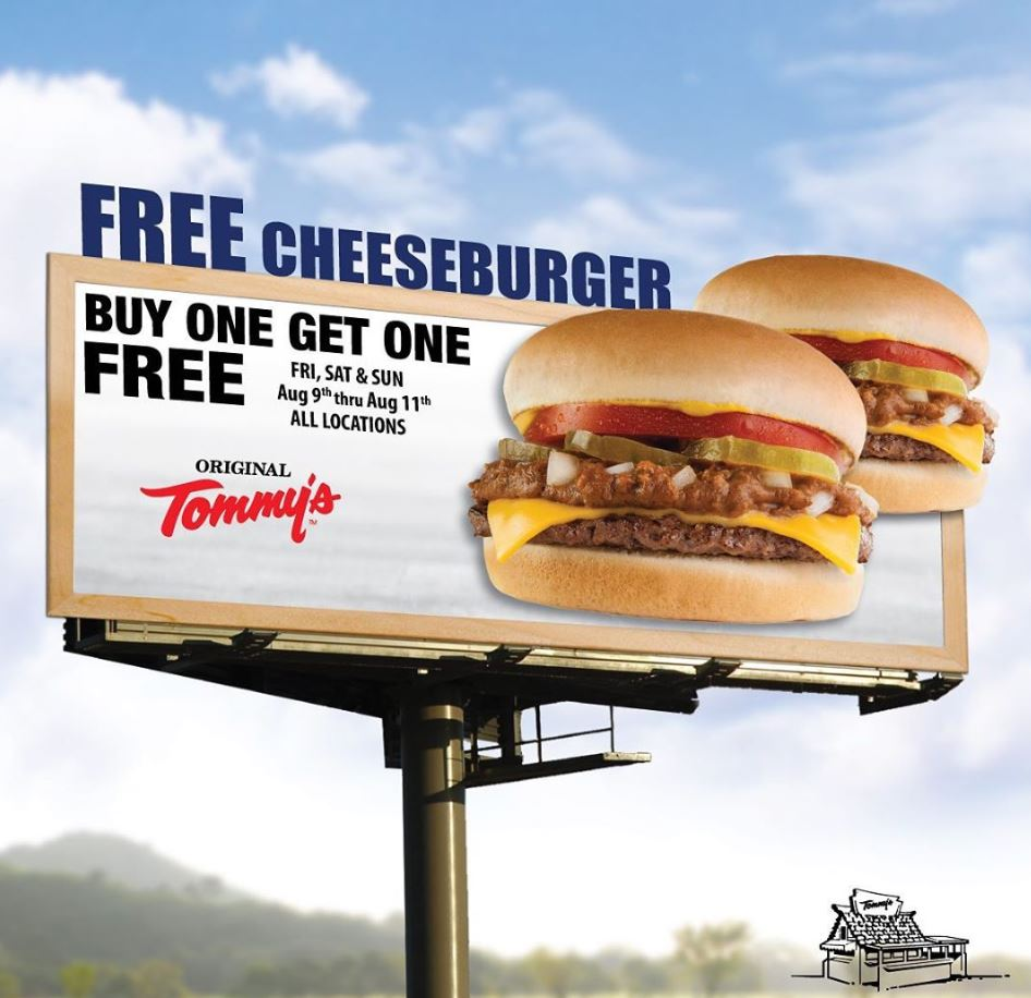Aug 9 - 11 | BOGO FREE Chili Cheeseburgers @ ALL Original Tommy's Locations!