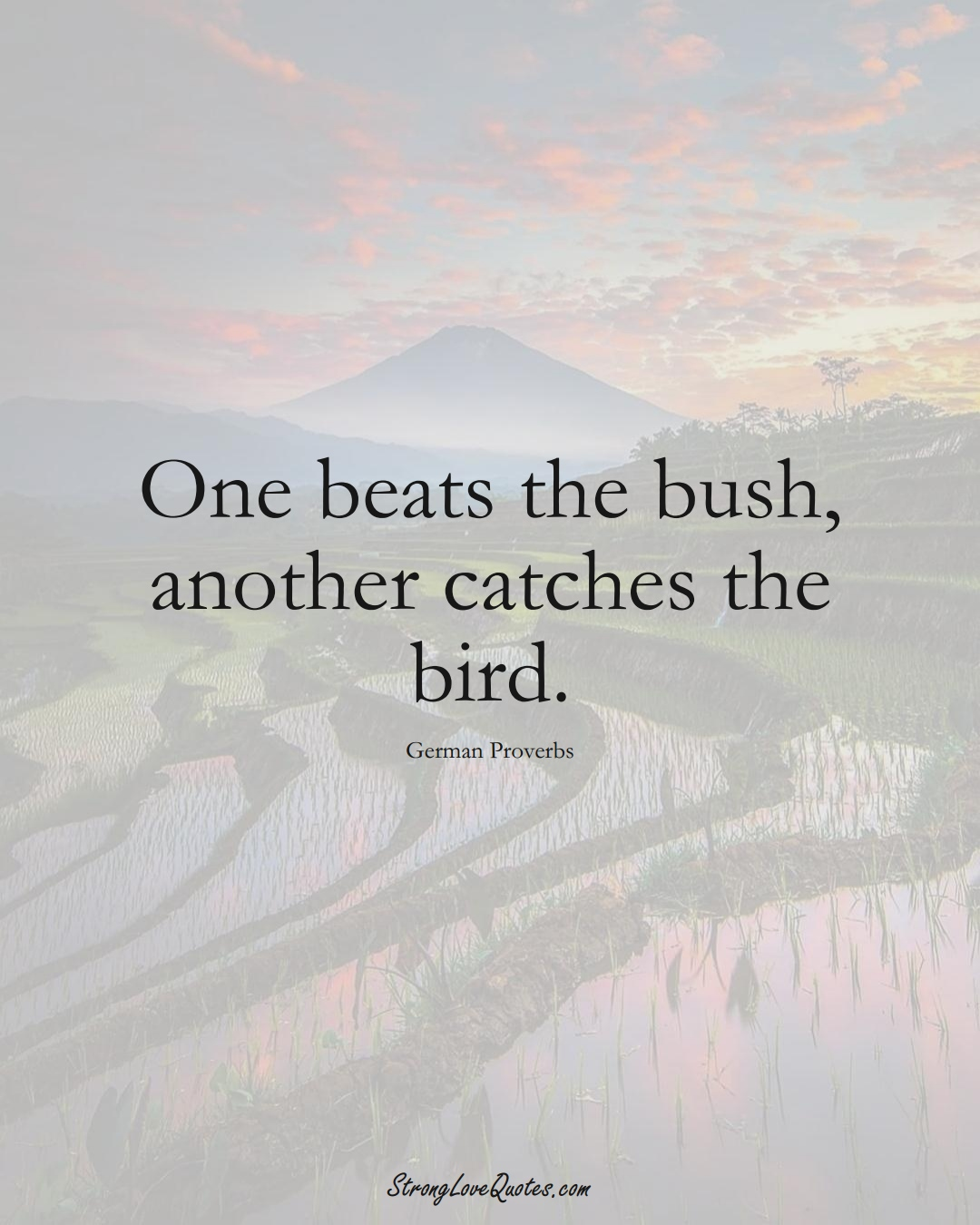 One beats the bush, another catches the bird. (German Sayings);  #EuropeanSayings