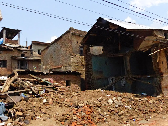 Earthquake destroyed streets of Sankhu, Nepal
