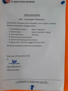 PT. Nissin Food Indonesia jababeka