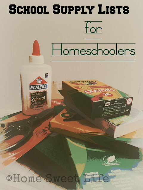School supply lists, homeschooling lists, basic school supplies