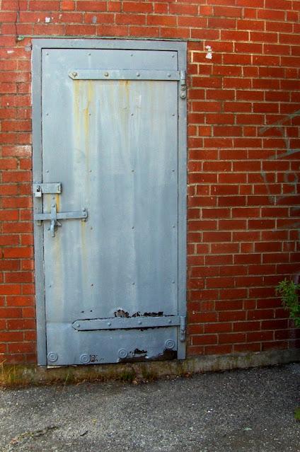grey painted steel door