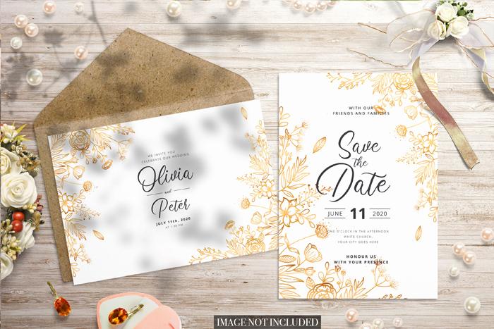Save the Date Wedding Invitation PSD Card