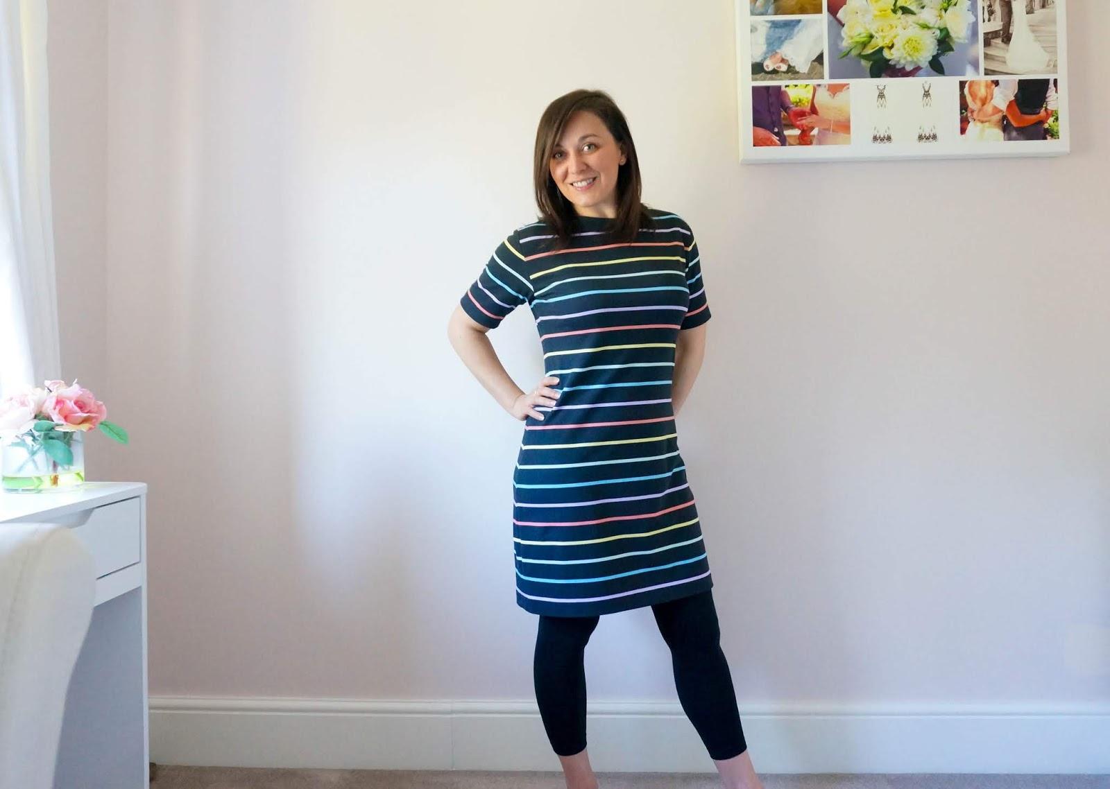 Rainbow T-Shirt dress using Sew Over It Molly dress and Seamwork Astoria patterns