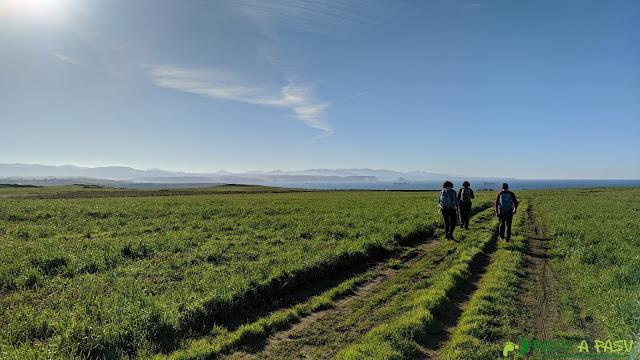 Camino entre praderas a la Playa de Xagó