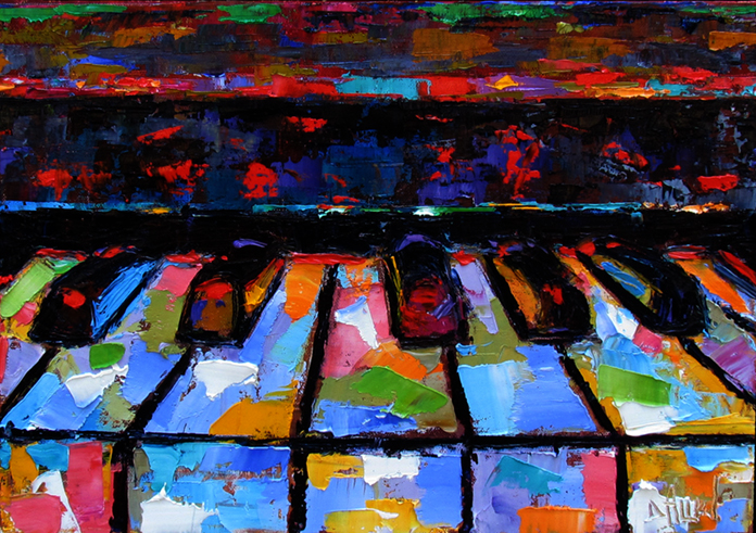 Abstract Piano Oil Painting
