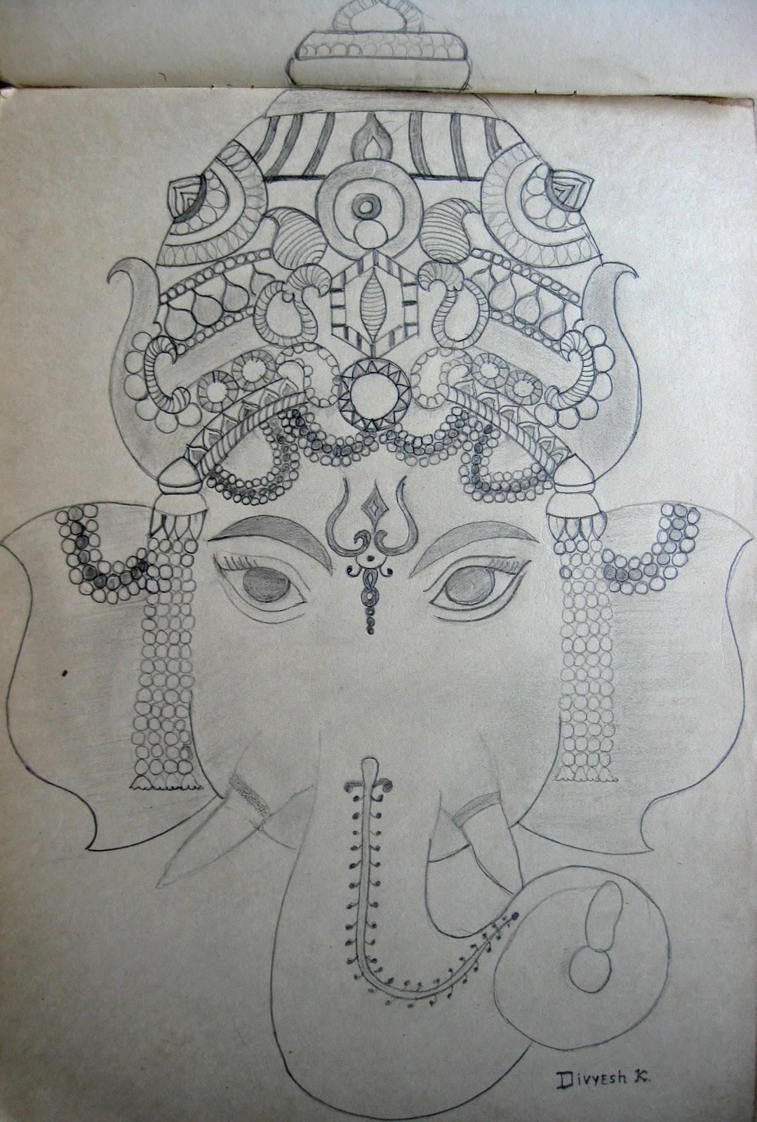 Lord ganesha sketch by divyesh lappawala