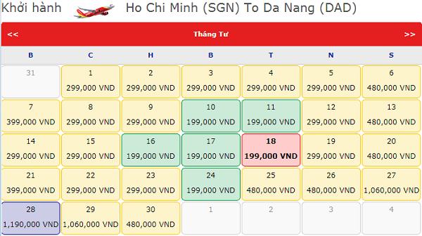 Vé máy bay TPHCM đi Đà Nẵng tháng 4 hãng Vietjet Air
