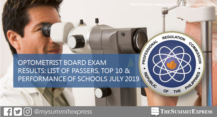 FULL RESULTS: July 2019 Optometrist board exam list of passers, top 10