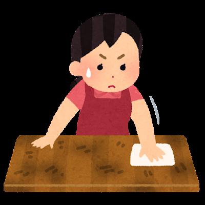 汚いテーブルの掃除のイラスト