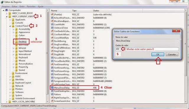 configurando o registro do windows para acelerar menus e janelas