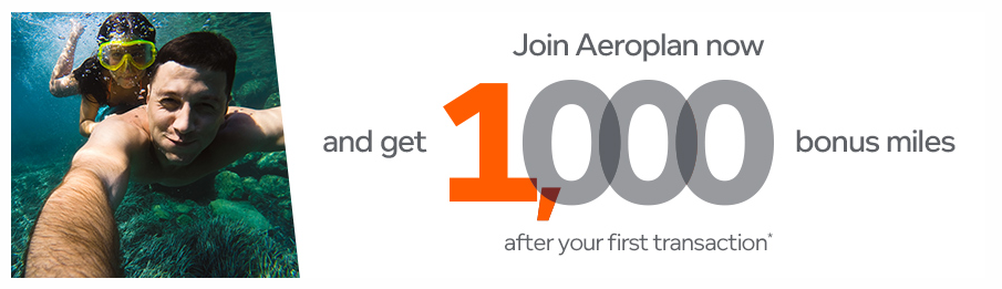Receive 1,000 bonus Aeroplan Miles when you join the program and complete your first earning transaction - ends soon