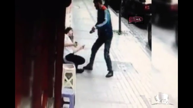 Young man battered the girl at the door of his house