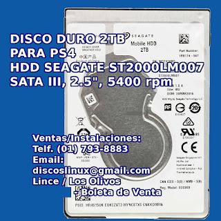 Disco Duro 2TB interno nuevo para PS4 Slim PS4 Pro en Lima Peru