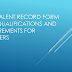 Equivalent Record Form (ERF) Qualifications and Requirements for Teachers