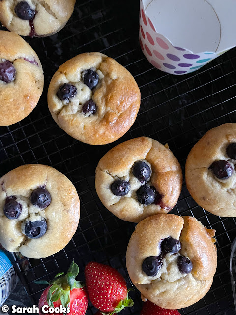 Baby-friendly Banana Blueberry Muffins