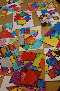 Sub Plan for elementary kids - shapes and Mondrian drawing
