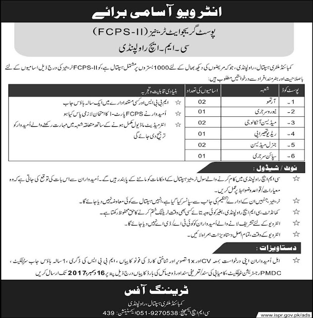 Doctors Jobs in Combined Military Hospital Rawalpindi