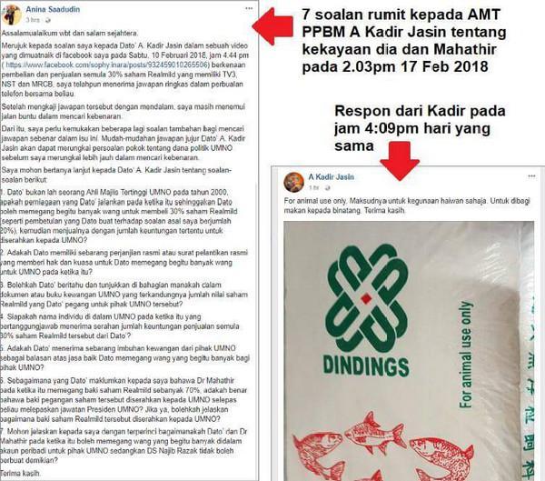 A Kadir Jasin tidak boleh jawab soalan mengenai pegangan saham dalam Realmild bagi pihak UMNO