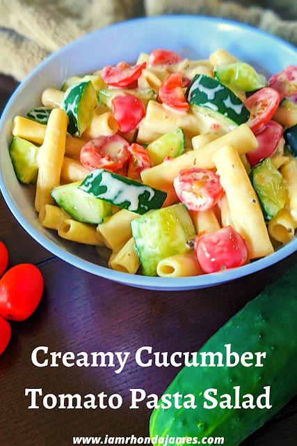 Creamy Cucumber Tomato Pasta Salad