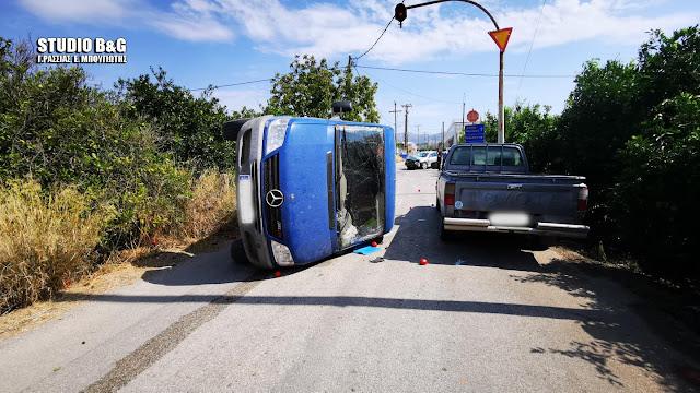 Αργολίδα: Σοβαρό τροχαίο στην Αγία Τριάδα Ναυπλίου με τραυματία και ανατροπή αυτοκινήτου