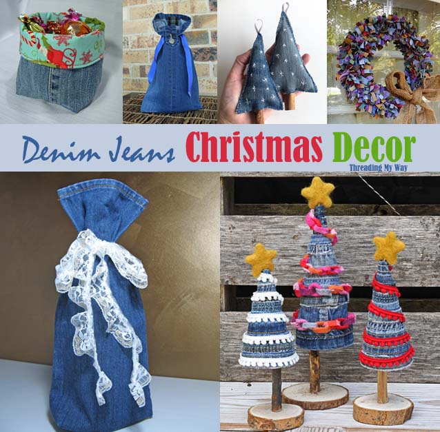 Learn how to make Christmas decor by recycling denim jeans - ornaments, gift bag, stocking. Threading My Way