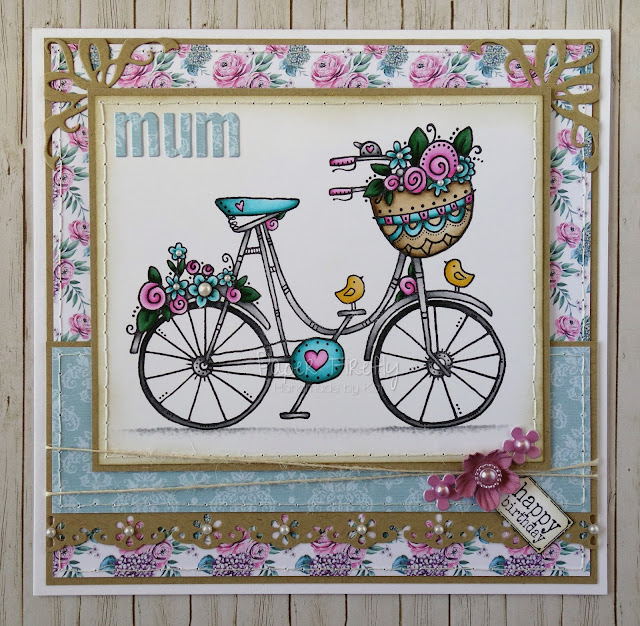 Floral birthday card using Flowering bike image by Woodware
