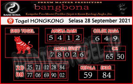 Prediksi Bangbona Togel Hongkong Selasa 28 September 2021