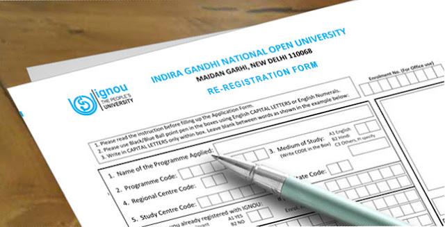 IGNOU Online Re-Registration Form