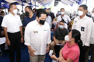Menteri BUMN Didampingi Wagub Sumut Tinjau Vaksinasi Covid-19 di Medan