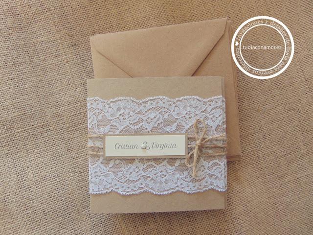 Invitaciones rústicas para boda con diseños hechos a medida