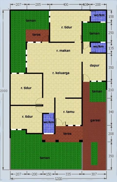 gambar denah rumah luas 120m 3
