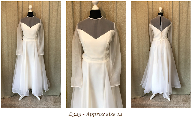 sweetheart illusion long sleeve tea length vintage wedding dress available at vintage lane bridal boutique in bolton , manchester, lancashire