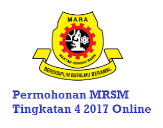 Permohonan MRSM 2017 Tingkatan Empat