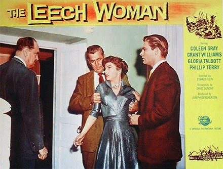 Lobby card - The Leech Woman - June is cornered by the police