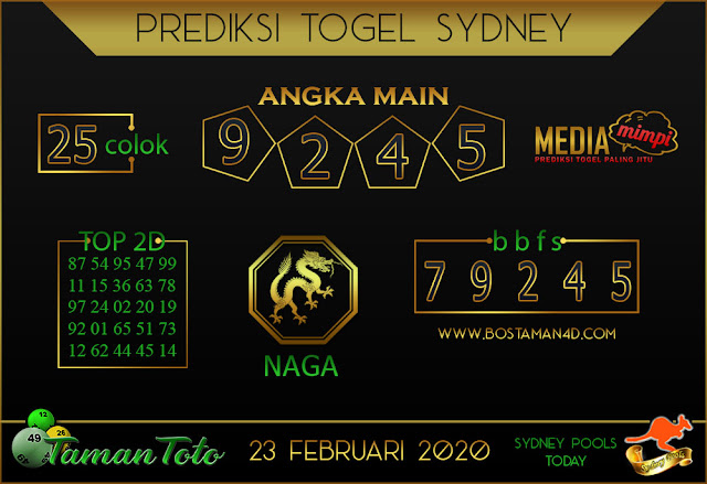 Prediksi Togel SYDNEY TAMAN TOTO 23 FEBRUARY 2020