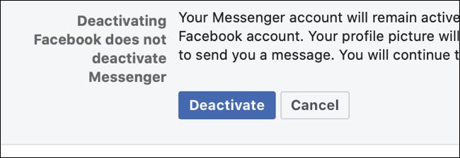 قم بإلغاء تنشيط Facebook
