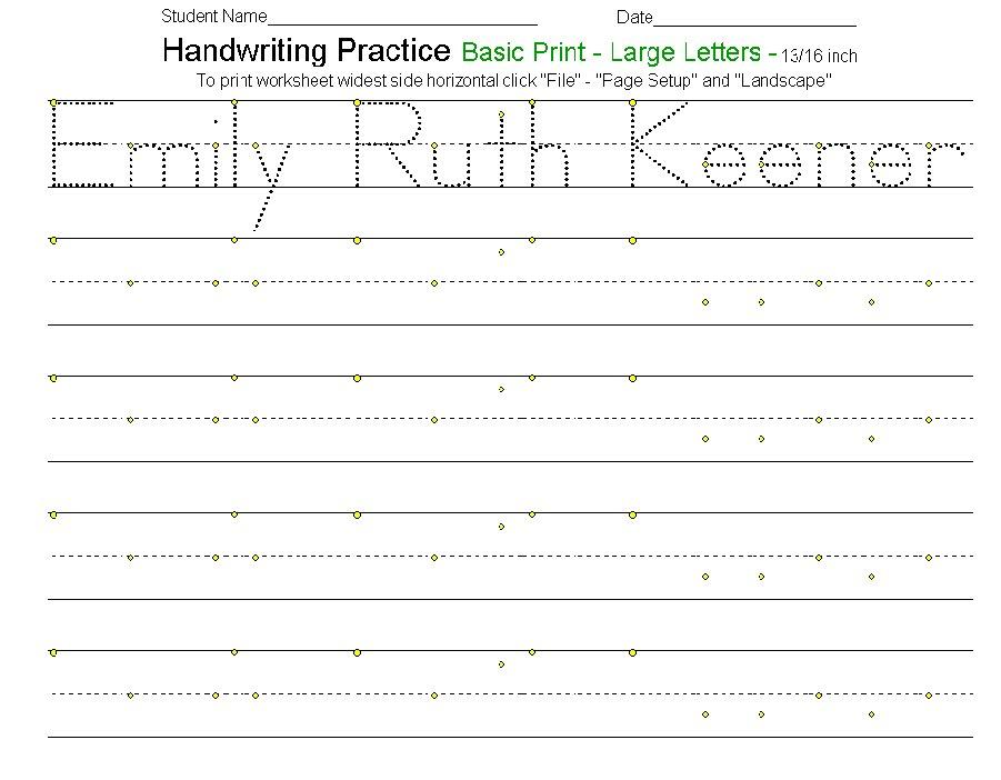 Handwriting Template writing template for kindergarten of blank – Cursive Worksheet Generator