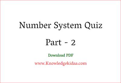 Number System Quiz Part - 2